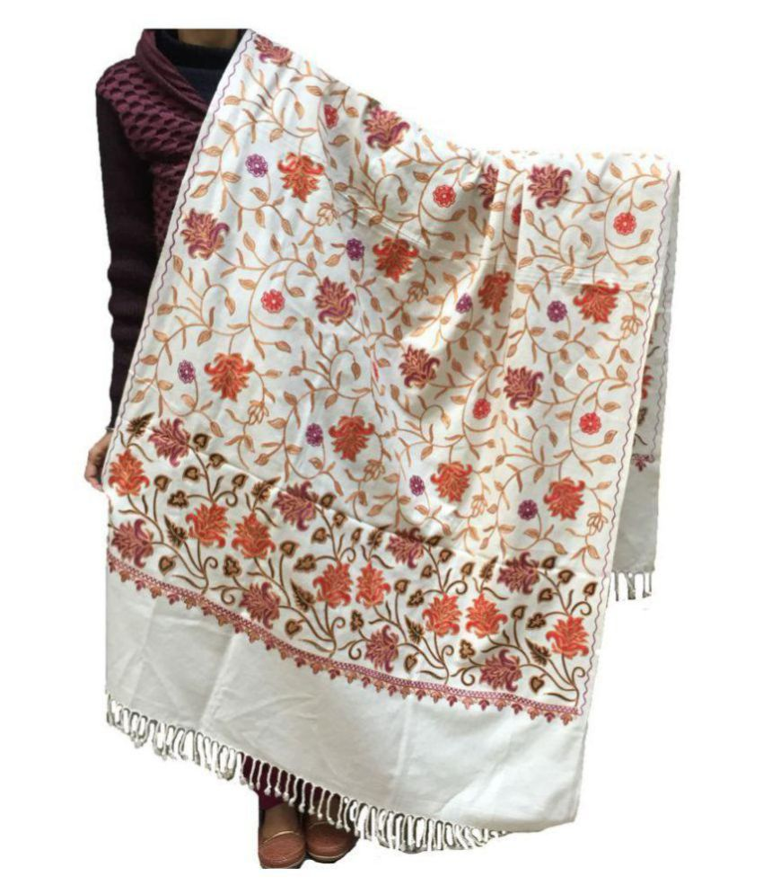 kashmiri shawls White Ari Embroidery Shawl