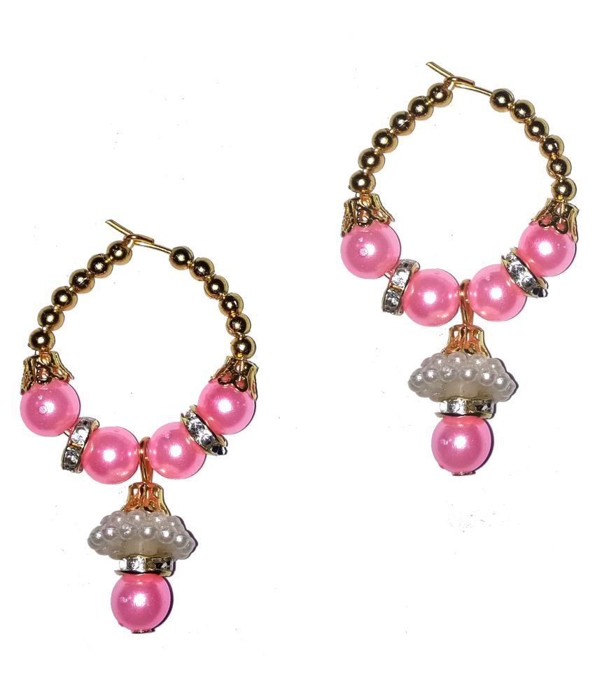 Fashionable Pink Hoop  earrings by Shrungarika