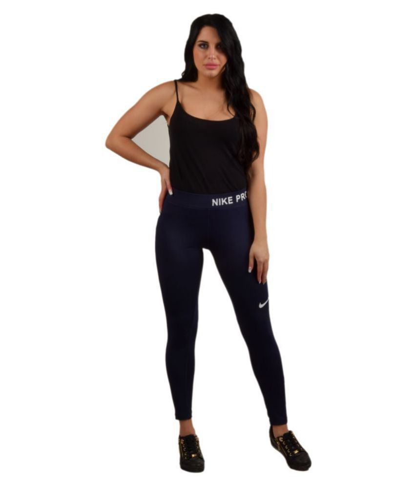 NIKE PRO Polyester Tights - Navy