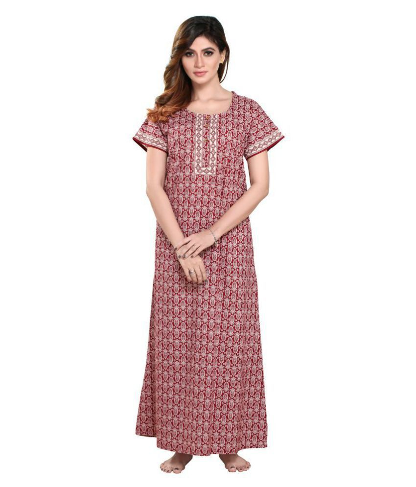 pdpm Cotton Nighty & Night Gowns - Brown