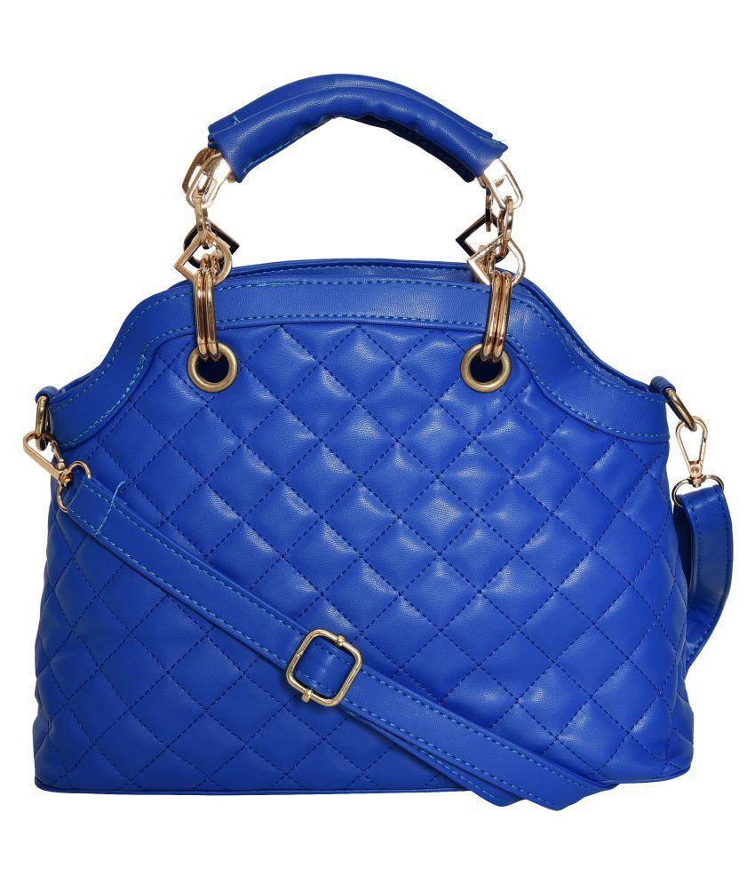 Ft Blue Faux Leather Shoulder Bag