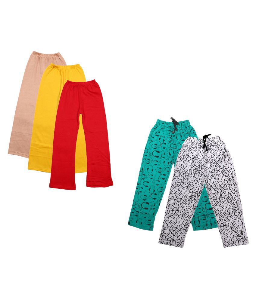 IndiWeaves Girls Warm Woolen Palazzo and Printed Lower for Winters Pack of 5