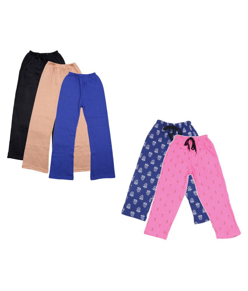 KAYU Girls Warm Woolen Palazzo and Printed Lower for Winters Pack of 5