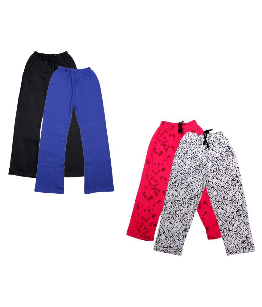 KAYU Girls Warm Woolen Palazzo and Printed Lower for Winters Pack of 4