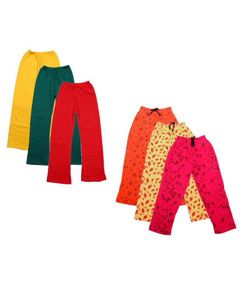 KAYU Girls Warm Woolen Palazzo and Printed Lower for Winters Pack of 6