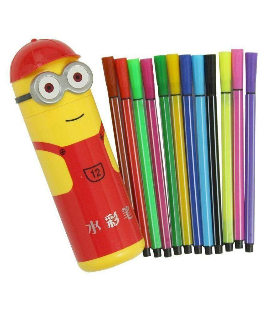 ANG Minion Shape Pencil Box Having Sketch Pen/Stationary Kit   12 Pens | Birthday Party Return Gift for Kids  2 case