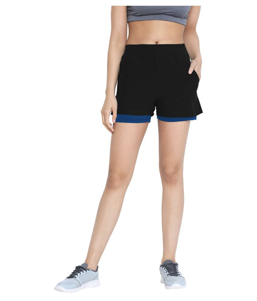 CHKOKKO Double Layered Sports Gym Workout Running Shorts for Women