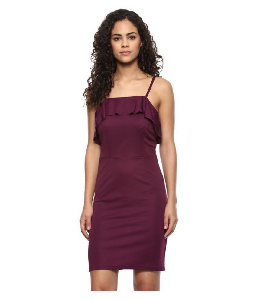 062017e65b41 DAMEN Polyester Purple Bodycon Dress - Buy DAMEN Polyester Purple Bodycon  Dress Online at Best Prices in India on Snapdeal