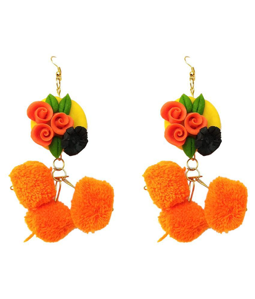 unique indian craft Earring/materials Porcelain /Jewellery Earrings (1 Pair)traditional multicolor / for Women/Girls by unique indian craft(combo of 2 pairs )