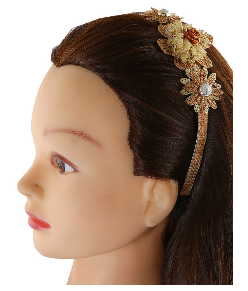 Anuradha Art Golden-Brown Colour Flower Styled Wonderful Hair Bealt/Hair  Accessories For Women/Girls