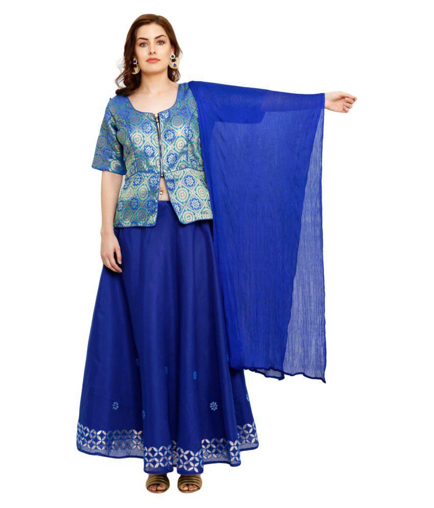 Salwar Studio Blue Brocade Circular Stitched Lehenga