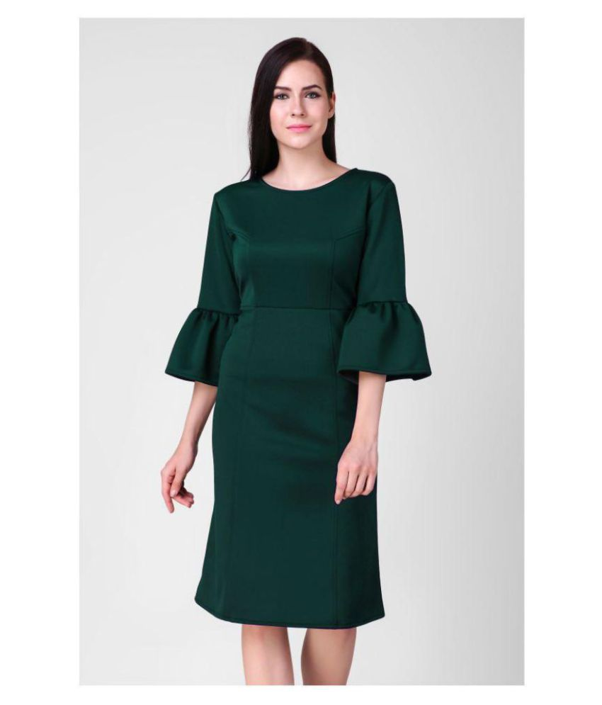 e2840d80c4a3 Sloppins Scuba Green Bodycon Dress - Buy Sloppins Scuba Green Bodycon Dress  Online at Best Prices in India on Snapdeal