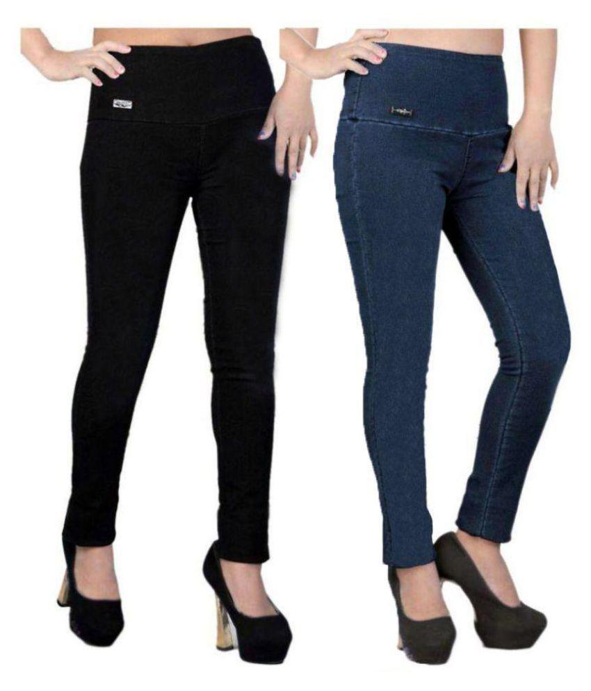 Trusha Dresses Denim Lycra Jeggings - Black