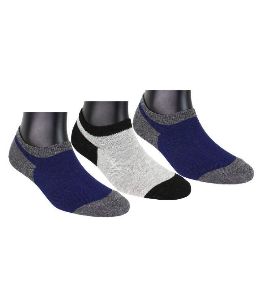 Neska Moda 3 Pairs Unisex Checks Free Size Cotton No Show Invisible Loafer Socks Blue,Grey