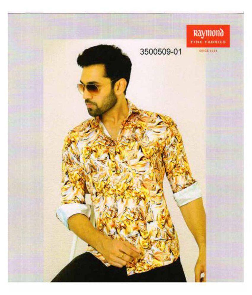 Raymond Yellow Cotton Blend Unstitched Shirt pc