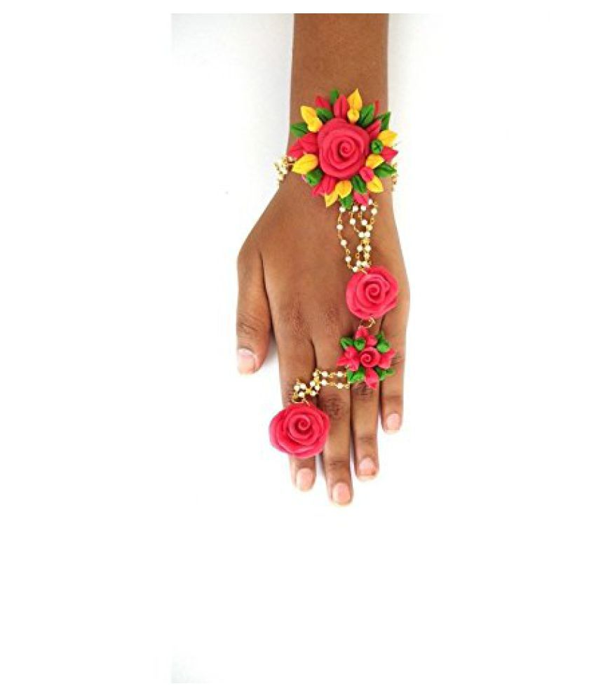 unique indian craft Hathphool /Classy Designer Styled and multicolor in Porcelain Dough material hathpool /Bracelet/ finger ring adjustable / For Women/Girls