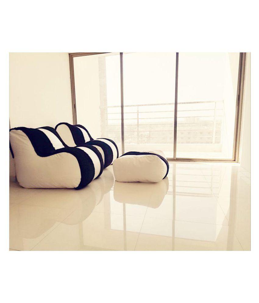 Lounger Bean Bag Sofa Bean Bag White And Black Leather