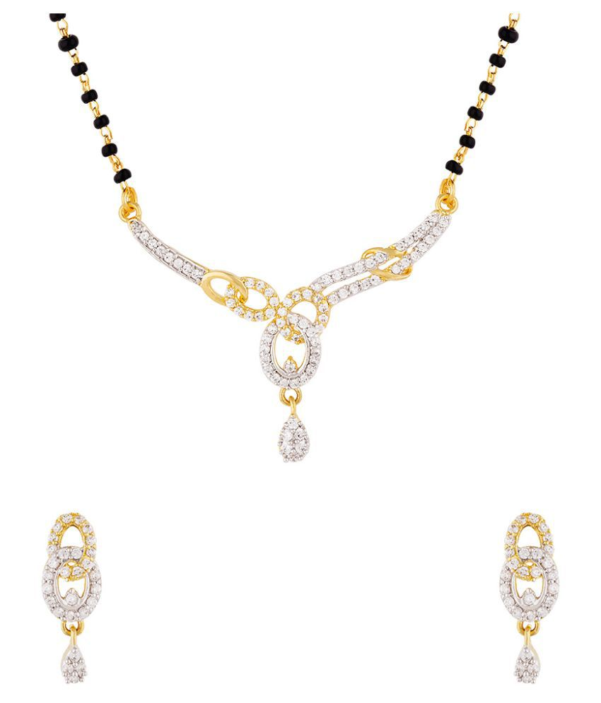 Voylla Gemstones Adorned Earrings and Mangalsutra