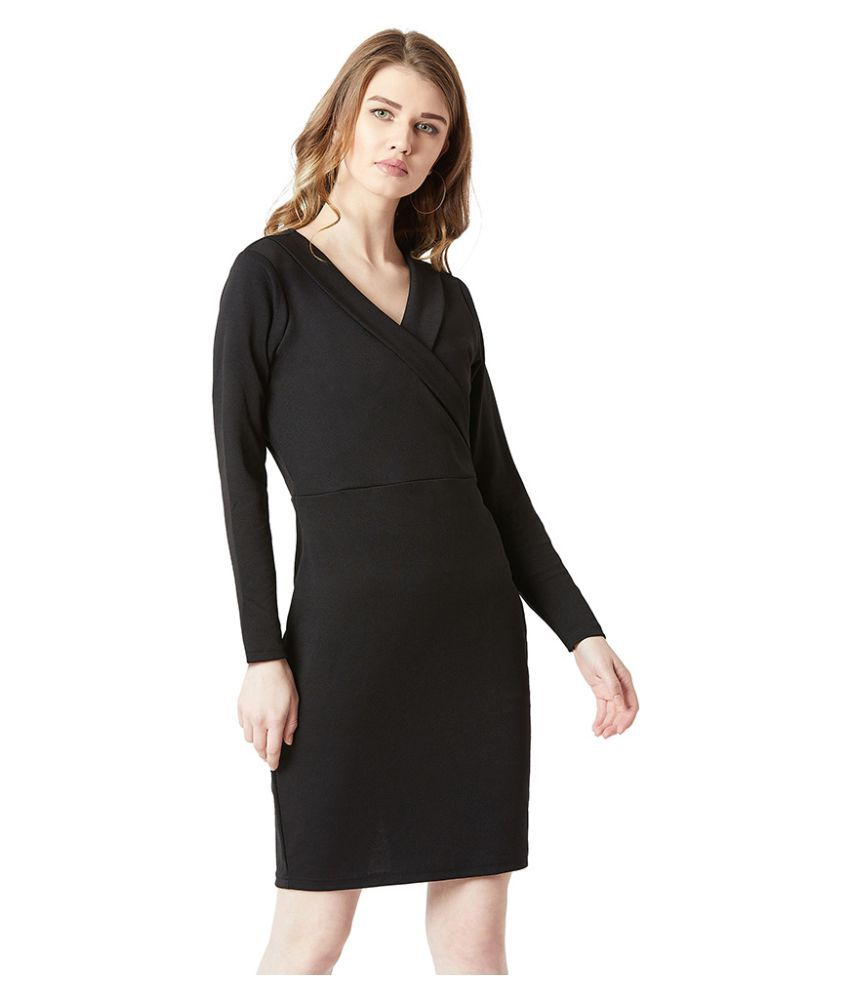 Miss Chase Polyester Black Bodycon Dress