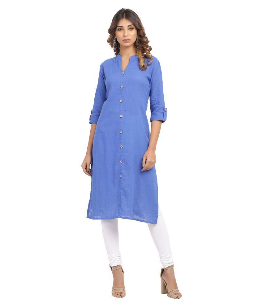 Rajasthani Sarees Purple Cotton Straight Kurti