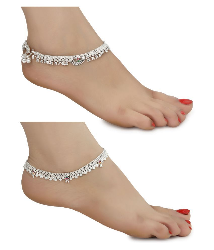 AanyaCentric Combo of Two Indian Traditional Ethnic Fancy Fashion Foot Jewellery Silver Plated White Metal Alloy Ghungroo Painjan Payal Leg Chain Stylish Imitation Anklets Pair for Women and Girls(Pack of 2)