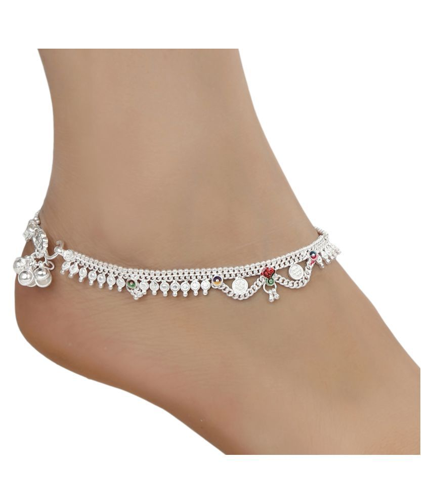 AanyaCentric Indian Traditional Ethnic Fancy Fashion Foot Jewellery Silver Plated White Metal Alloy Ghungroo Painjan Payal Leg Chain Stylish Imitation Anklets Pair for Women and Girls