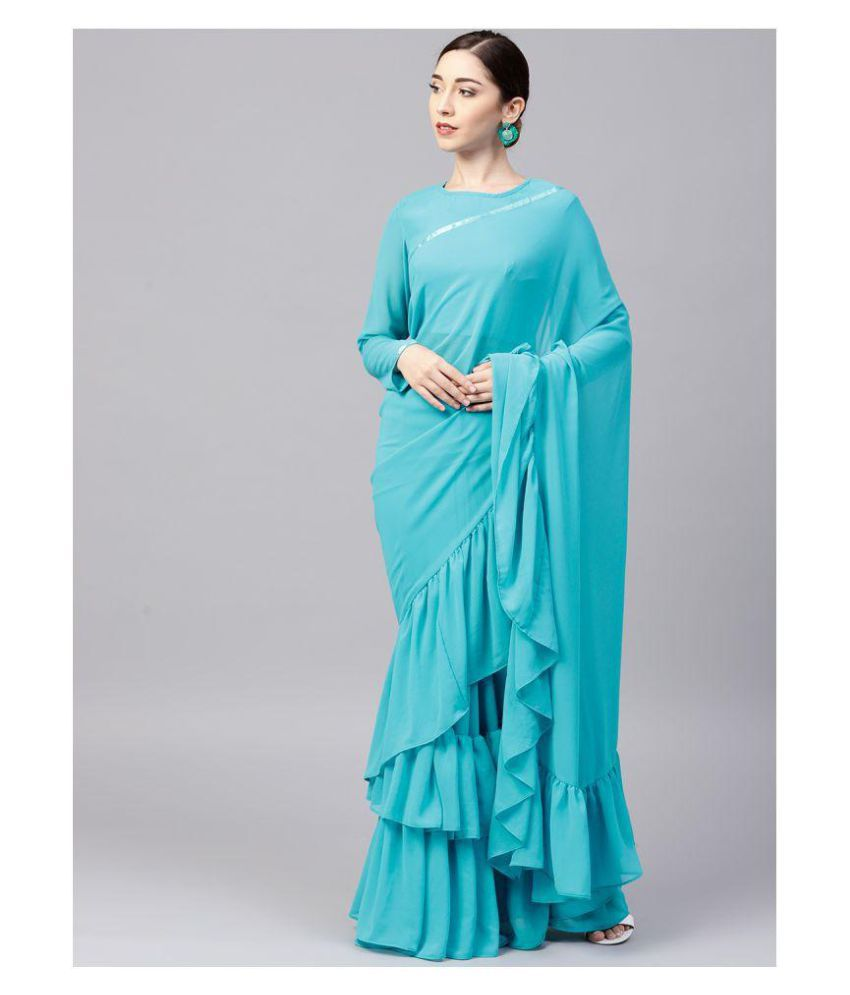 461df01cdd1dd8 Arohi Designer Blue Georgette Saree - Buy Arohi Designer Blue ...