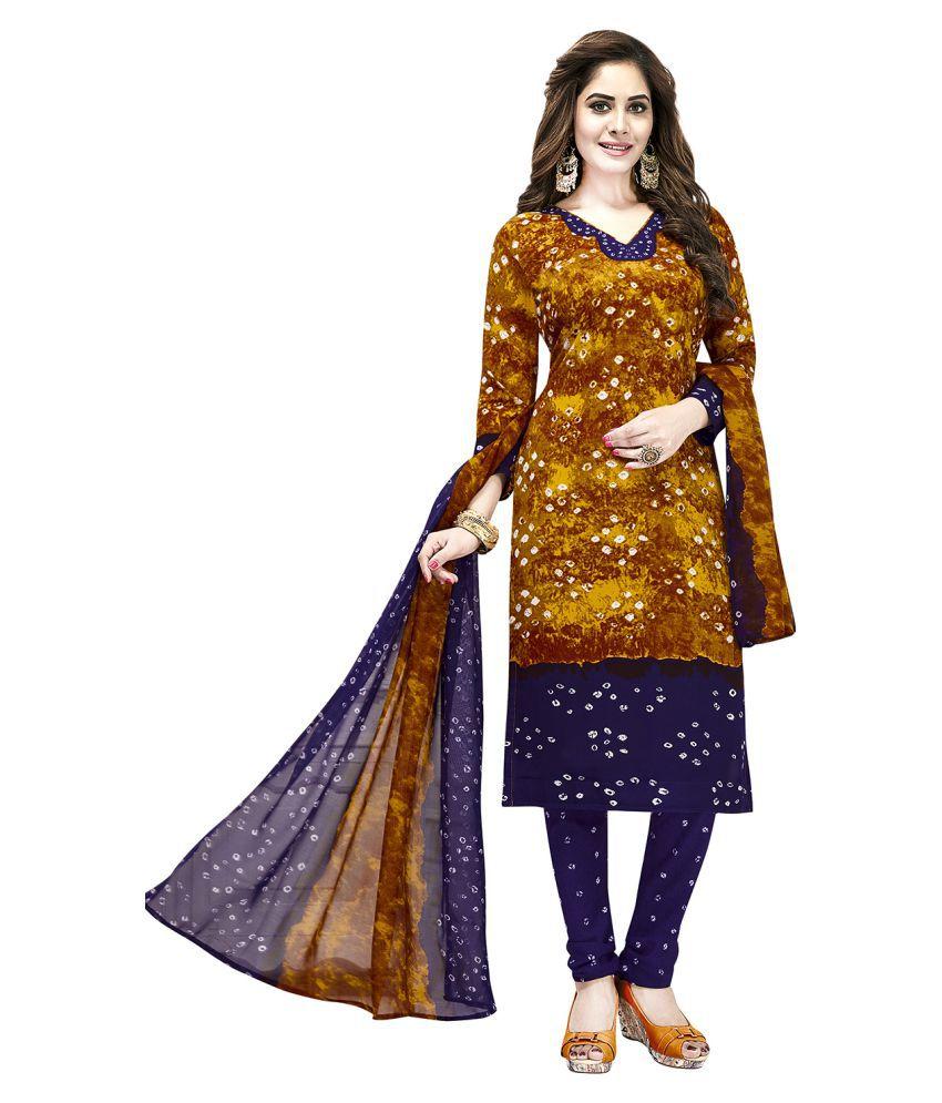 Jevi Prints Brown Crepe Dress Material