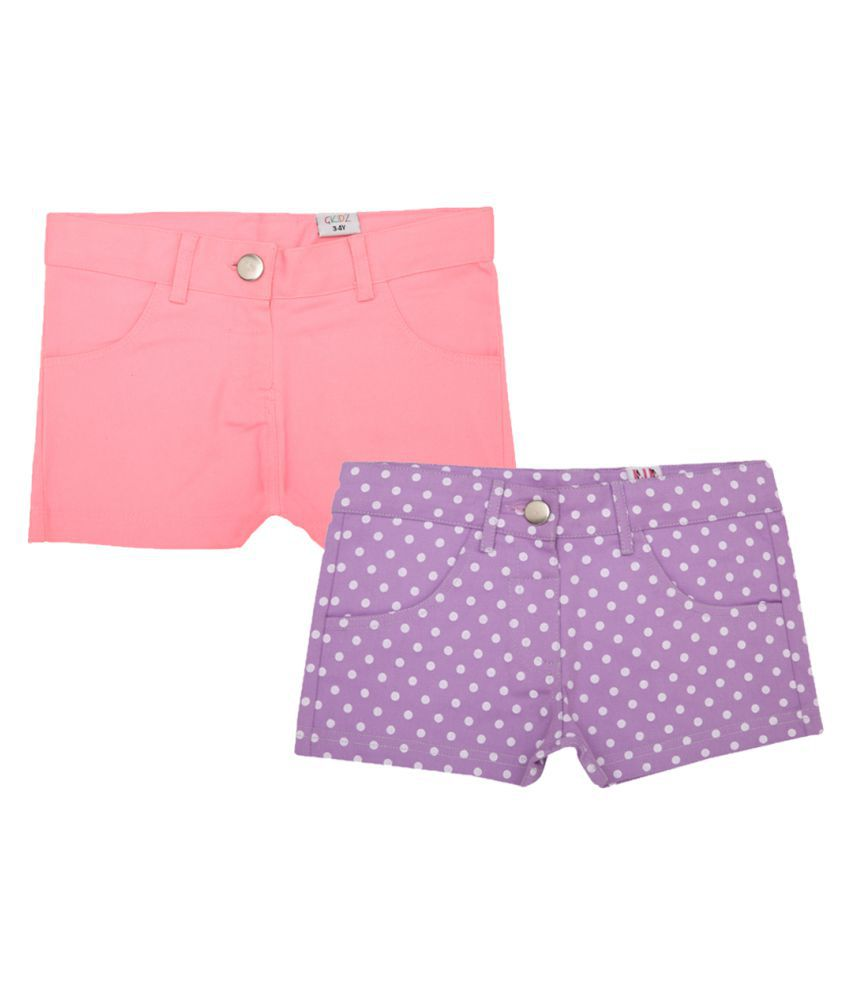 Lil Orchids Pack of 2  Cotton Hot Shorts for Girls
