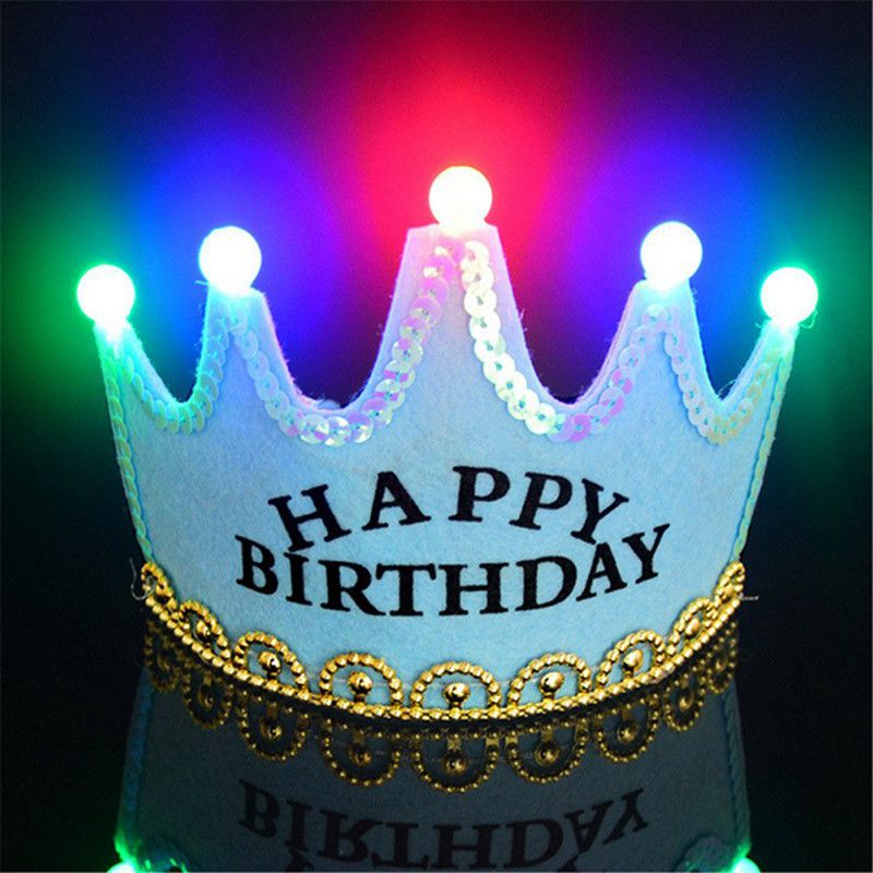 LED Light Up Princess King Happy Birthday Crown Cap