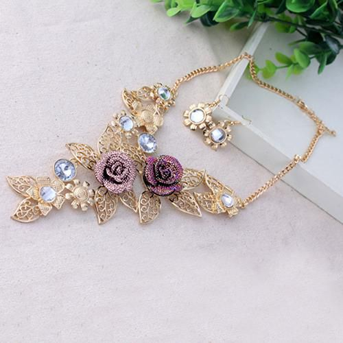 Crystal Women Bib Choker Chain Pendant Statement Flower Necklace Set Earrings
