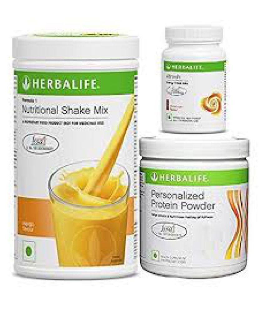 Herbalife Formula 1 Shake mix Mango Flavour 500g,Personalized Protein  Powder 240 gm and Afresh Energy Drink Cinnamon Flavour Health Drink 750 gm