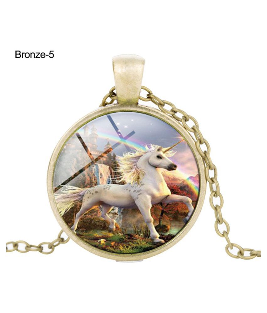 Vintage Unicorn Cabochon Glass Pendant Necklace Unisex Sweater Chain Jewelry Fashion Jewellery