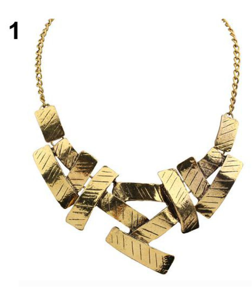 Women Metal Geometrical Irregular Squares Pendant Chain Bid Choker Necklace Fashion Jewellery
