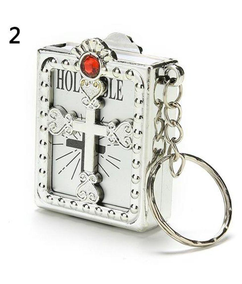 Fashion Mini Holy Bible Miniature Paper Spiritual Christian Jesus Keychain  Keyring