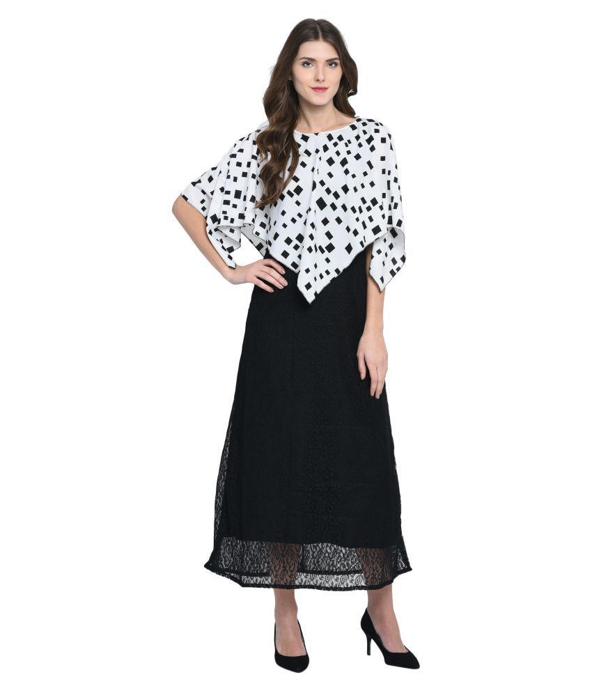 Triraj Net Black A- line Dress
