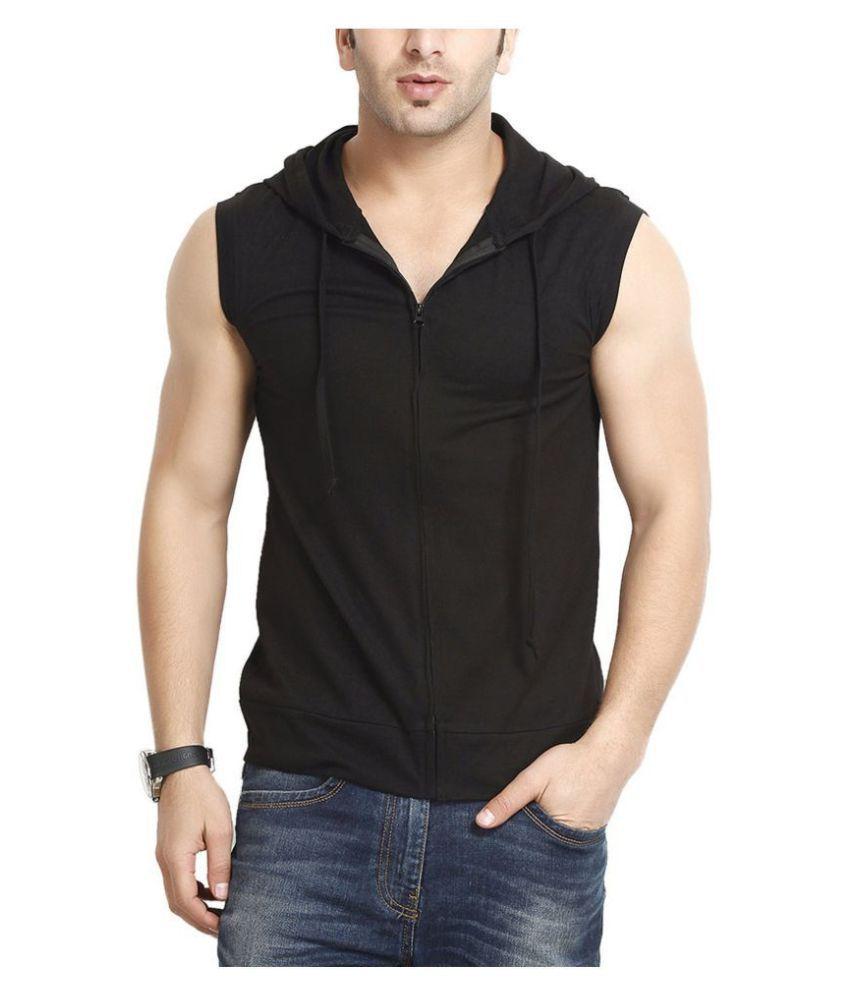Fashion Gallery Black Sleeveless T-Shirt Pack of 1