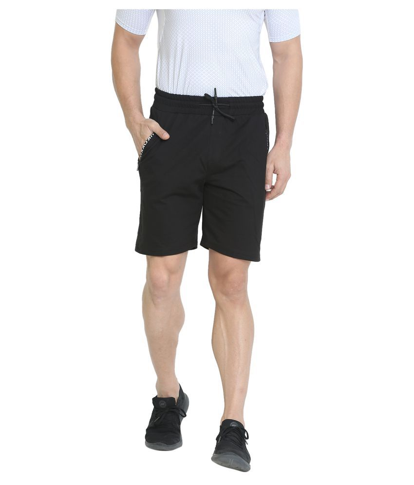 Chkokko Men Gym Workout Casual Cotton Bermuda Shorts With Zipper Pocket