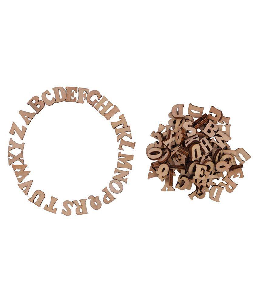 Vardhman 100 Pcs Wooden Letters Capital Alphabet Wood Cutout For Arts Crafts Decor Scrapbook Decoration