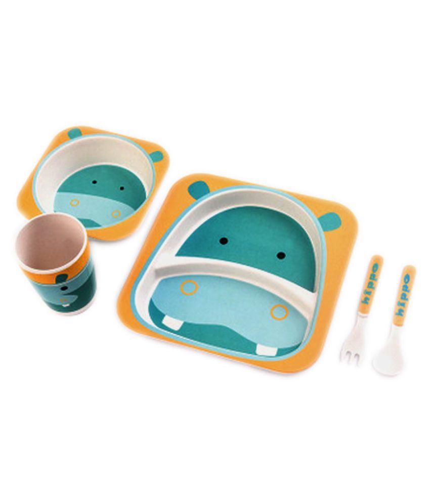 EZ Life Kids - Hippo Fibre Bamboo Dinner Set of 5 Pieces