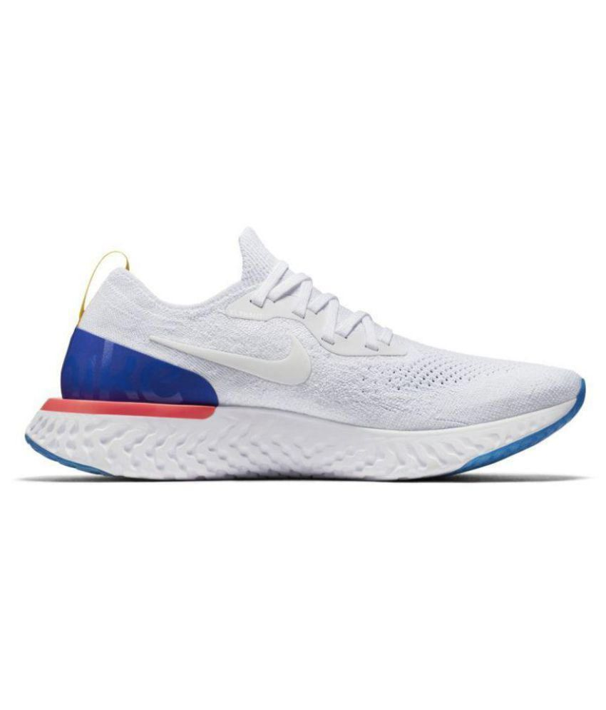9f47bca83217 Nike Epic React Flyknit White Running Shoes - Buy Nike Epic React Flyknit  White Running Shoes Online at Best Prices in India on Snapdeal