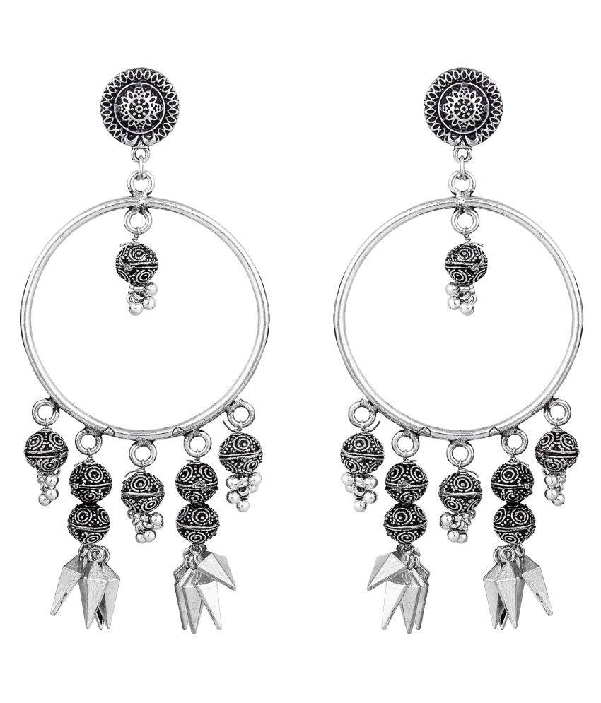The Luxor German Silver Oxidised Afghani Jhumkha Jhumkhi Silver Earrings for Women