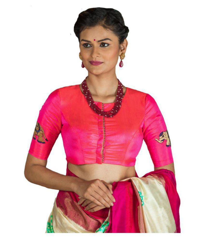 Xomantic Fashion Pink Paper Silk Readymade with Pad Blouse