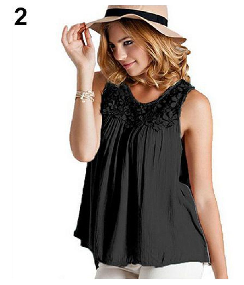 4a938ae02ffa ... Women s Summer Sexy Sleeveless Lace Collar Blouse Back Bandage Vest Tops