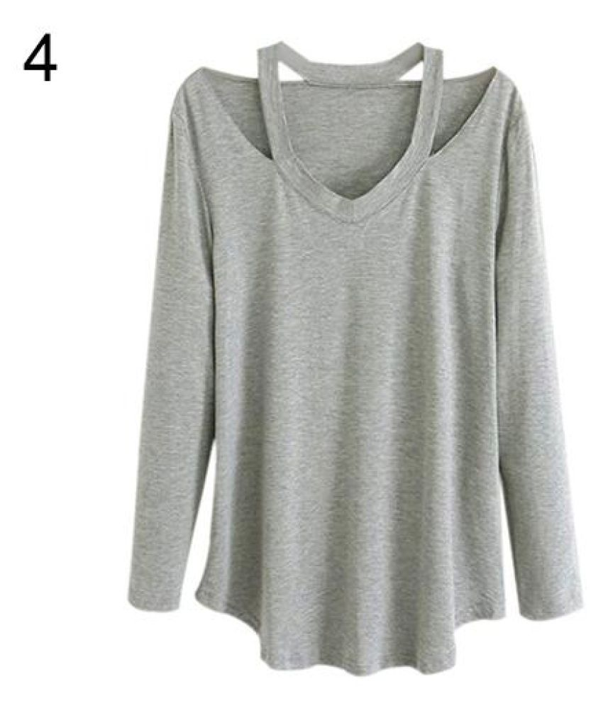 c6480ed0d9b7 Buy Women s V-neck Plus Size Tops Loose Long Sleeve T-Shirt Casual Blouse  Dress Tee Online at Best Prices in India - Snapdeal