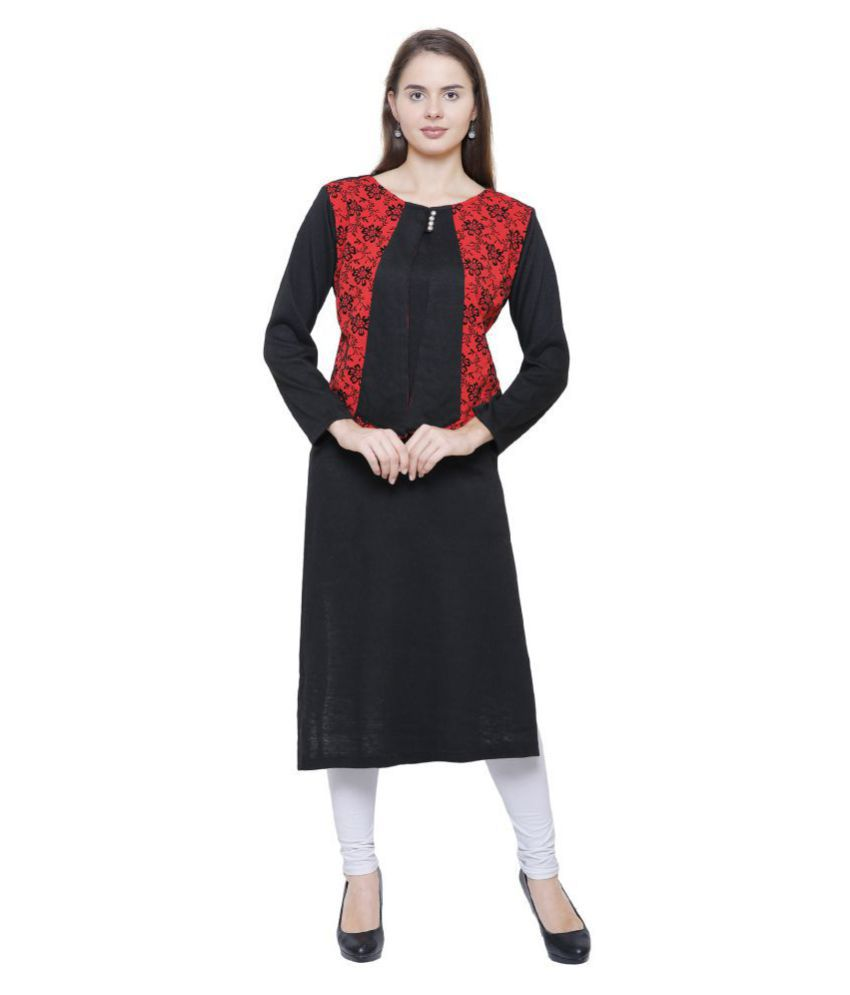 Rosary Black Woollen Straight Kurti
