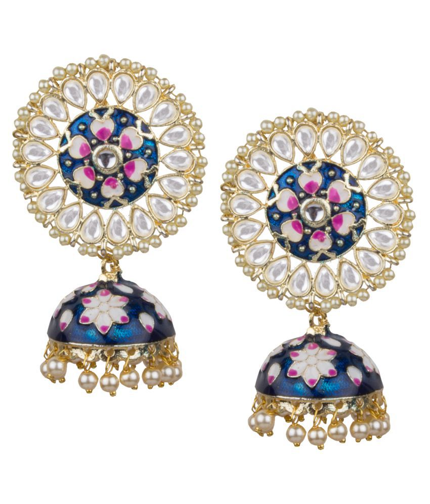 Piah Fashion Appealing Gold Plated Blue & Pink Minakari With White Pearl & Kundan Brass Jhumkhi For Women & Girls \n