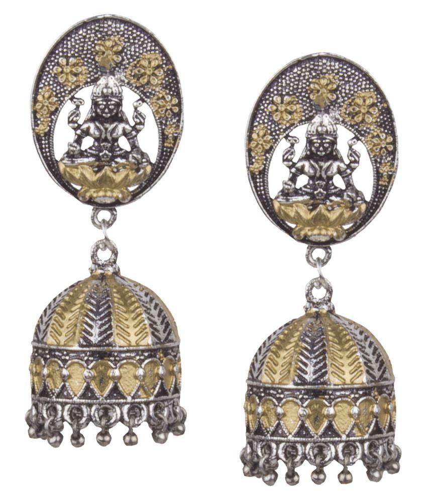 Piah fashion Silver Plated Mahalakshmi Handmade  Brass Jhumki Earring for woman