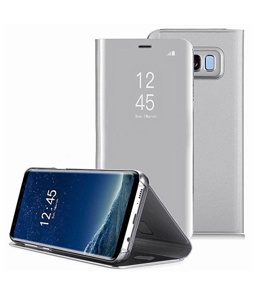cheaper 24bba 7173d Samsung Galaxy A8+ Flip Cover by JKR - Silver