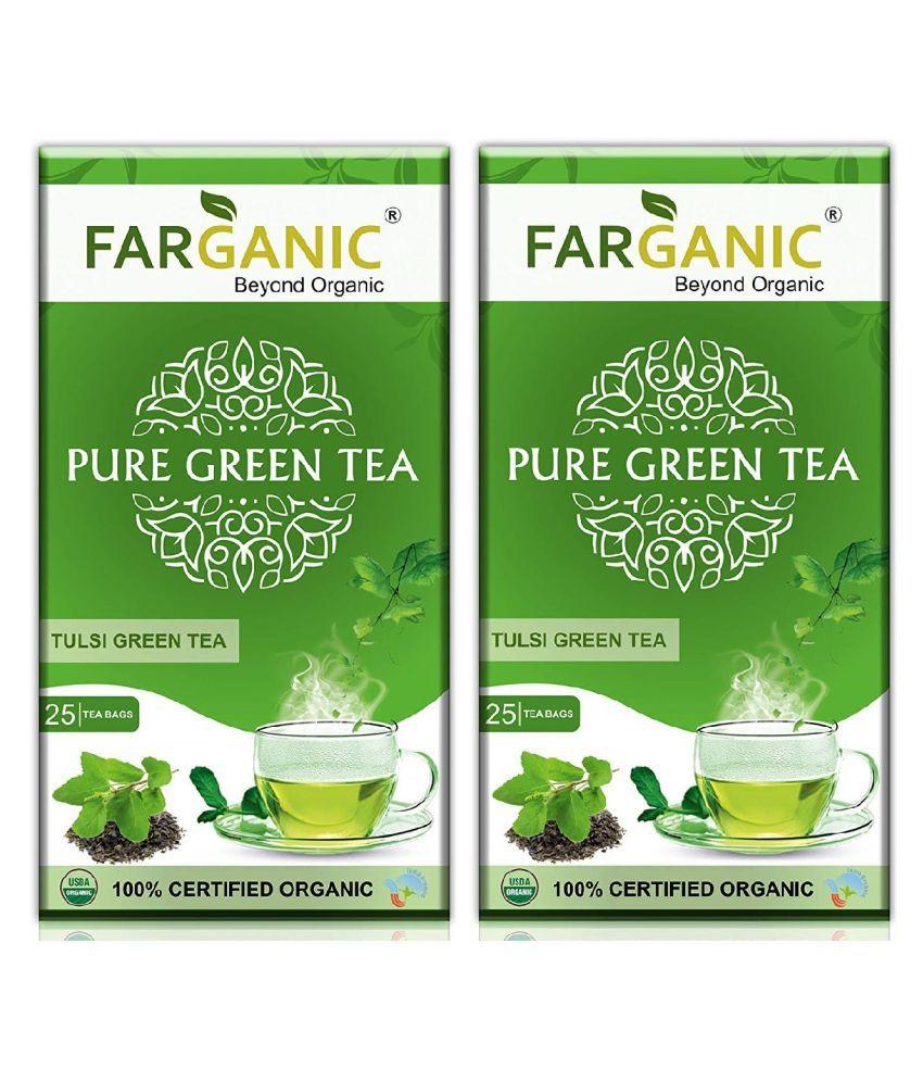 Farganic Combo of 100% Organic Tulsi Green Tea 25 Tea Bags, Pack of 2
